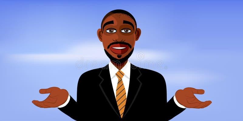 Knappe zwarte mens in een kostuum stock illustratie