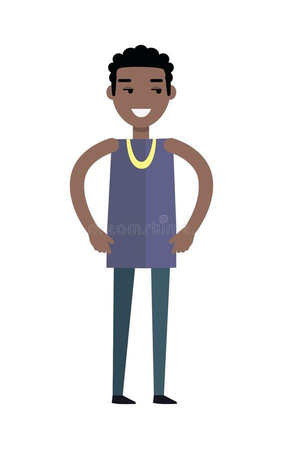 Knappe zwarte mens met vrolijke houding stock illustratie