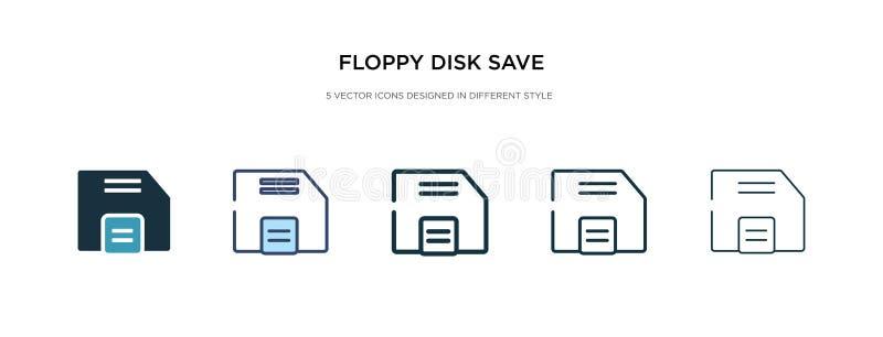 Knappen Spara diskett i en annan formatvektorbild två färgade och svarta ikoner för diskettsparande knappvektorer royaltyfri illustrationer