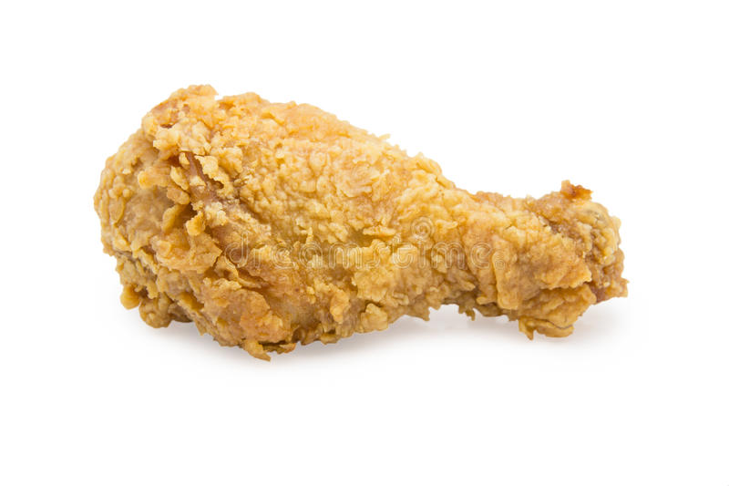 Knapperig gebraden geïsoleerde kippenvertraging of Fried Chicken Drumstick royalty-vrije stock foto's