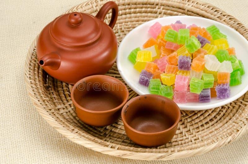 Knapperig gelei Thais dessert stock foto's