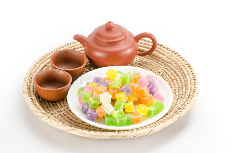 Knapperig gelei Thais dessert stock afbeeldingen