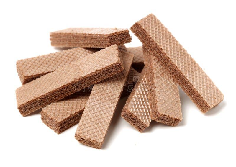 Knapperige chocoladewafeltjes stock afbeeldingen