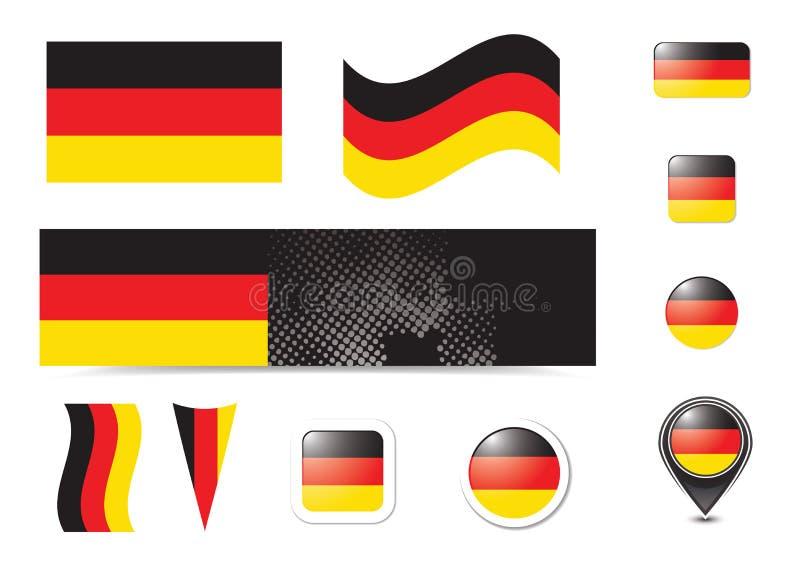 knappflagga germany royaltyfri illustrationer
