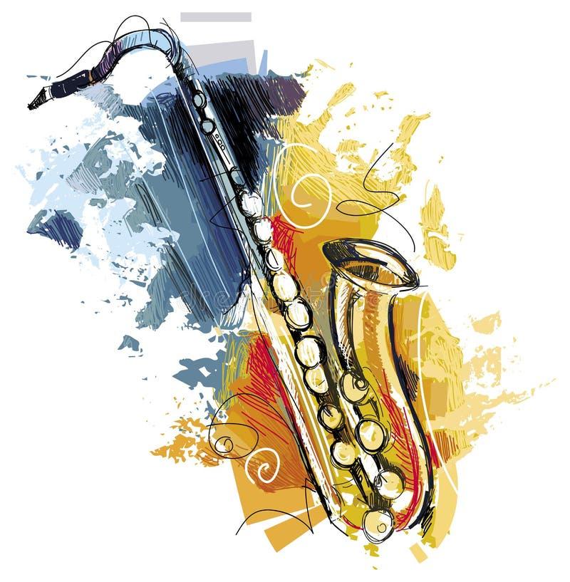 Knapphändig färgrik saxofon arkivbild