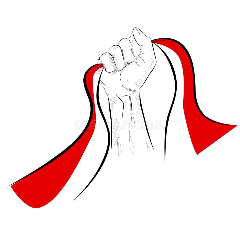 Knapphändig hand för vektor som rymmer den indonesia flaggan, beståndsdeldesign för självständighetsdagen royaltyfri illustrationer