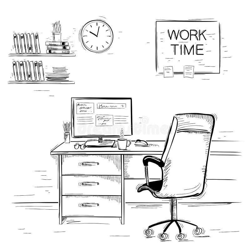 Knapphändig illustration av inre rum för kontor Imag för vektordiagram stock illustrationer