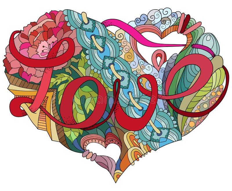 Knapphändig klotterhjärtaillustration med ordet FÖRÄLSKELSE vektor illustrationer