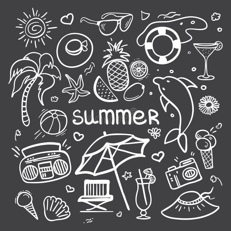 Knapphändig linje uppsättning för vektor för konstklottertecknad film av objekt och symboler för sommarferier på svart tavla stock illustrationer