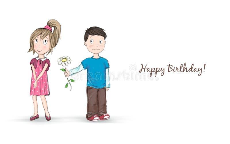 Knapphändig tecknad filmillustration av en blyg pojke som ger en blomma till en nätt flicka stock illustrationer