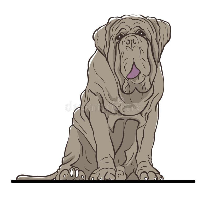 Knapphändig vektorillustration av en gullig hund royaltyfri illustrationer