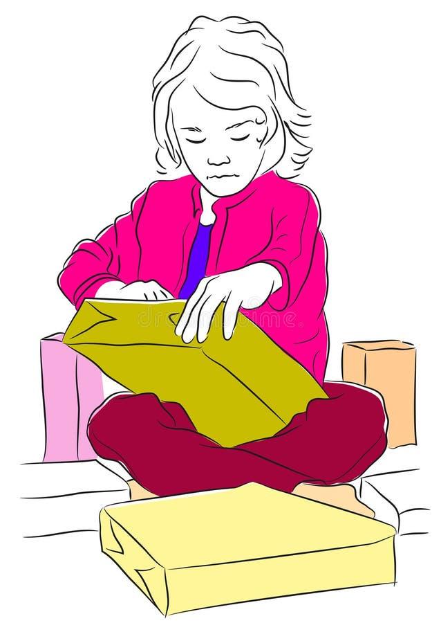 Knapphändig vektorillustration av en ung flicka som öppnar henne gåvor stock illustrationer