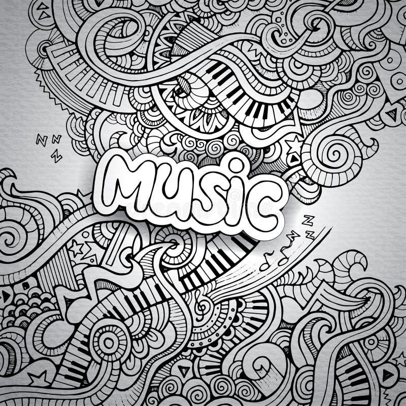 Knapphändiga anteckningsbokklotter för musik. stock illustrationer