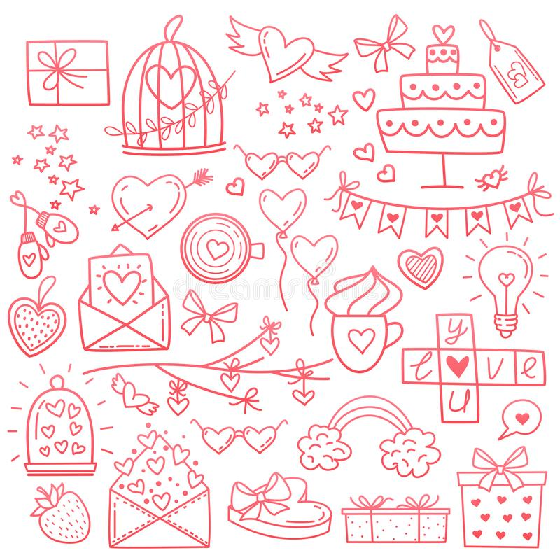 Knapphändiga den drog vektorhanden klottrar tecknad filmuppsättningen av förälskelse, och dagen för valentin s anmärker och symbo stock illustrationer