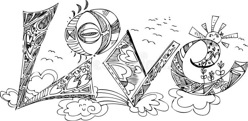 Knapphändiga klotter för FÖRÄLSKELSE royaltyfri illustrationer