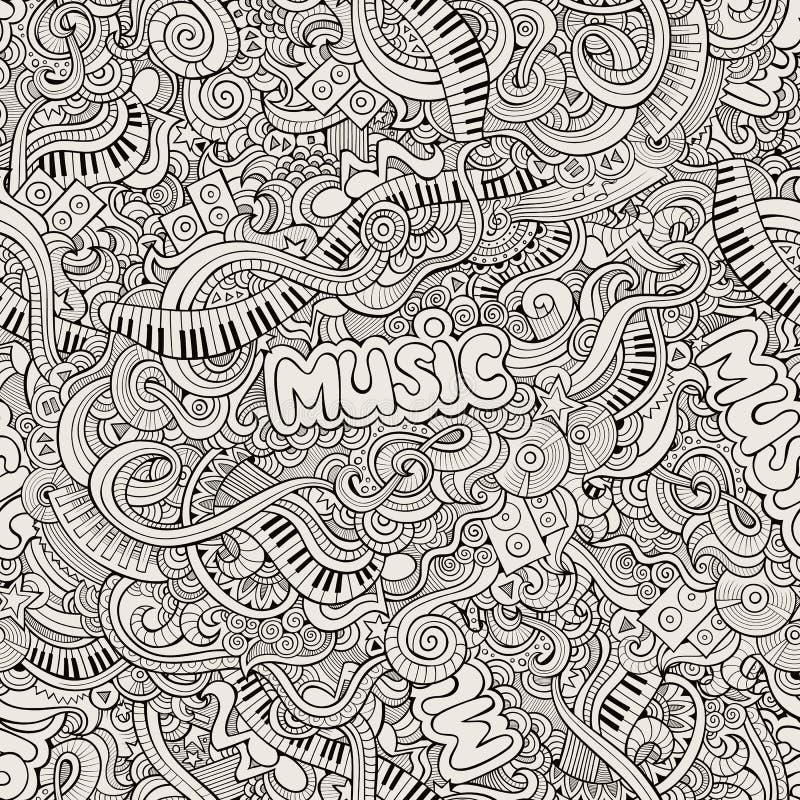 Knapphändiga klotter för musik Hand-dragen vektor stock illustrationer