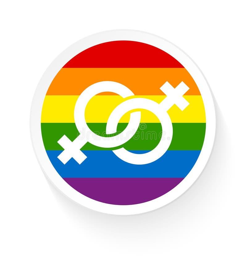 Knappregnbågeflagga två förband kvinnliga glade symboler vektor illustrationer