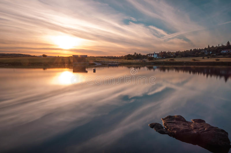 Knappsloch zonsondergang Schotland stock foto