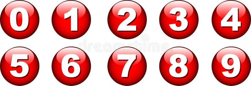 knappsymbolsnummer vektor illustrationer