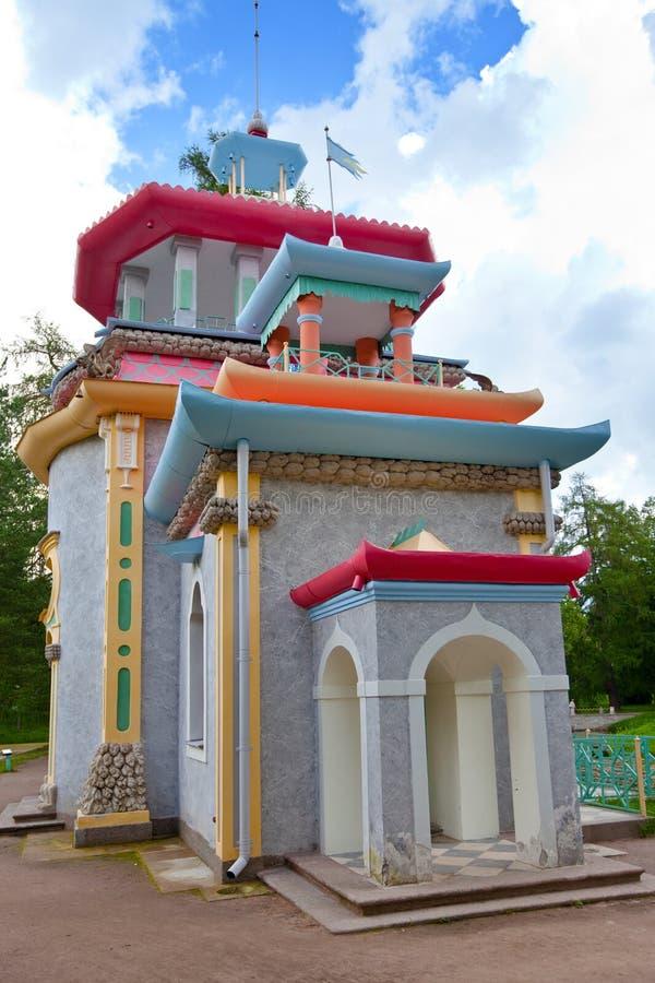 Knarsend zomer-Huis in Tsarskoe Selo (Pushkin), Rusland stock foto