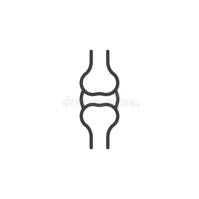 Knee bones line icon royalty free illustration