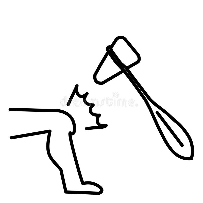 Knee and hammer jerk in action for outline for medical education royalty free illustration