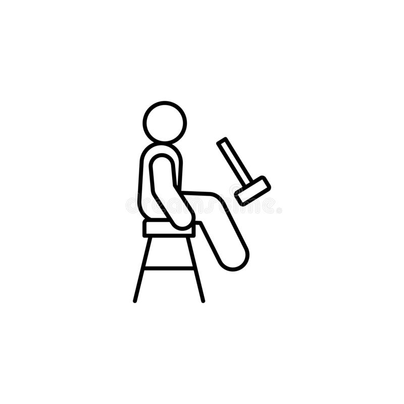 knee jerk, patient line icon on white background royalty free illustration