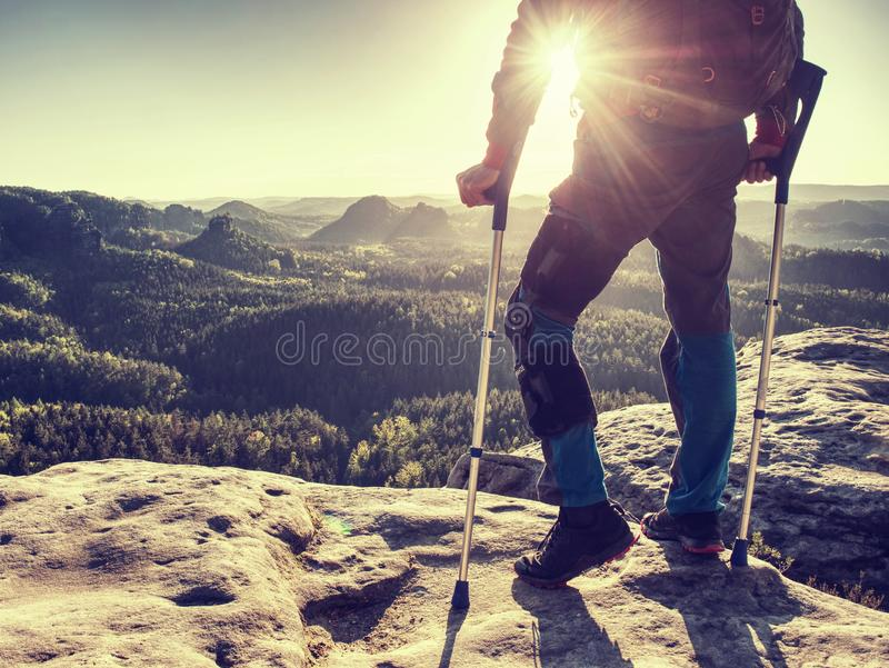 Knee joint hurt within trek. Tourist man suffering from knee pain royalty free stock images