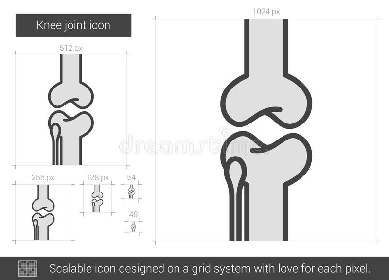 Knee joint line icon. royalty free illustration