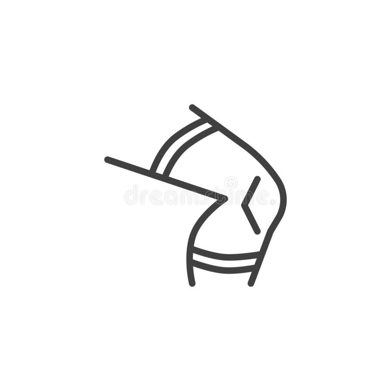 Knee Orthopedic Brace line icon. Linear style sign for mobile concept and web design. Knee Support Brace outline vector icon. Symbol, logo illustration. Vector stock illustration
