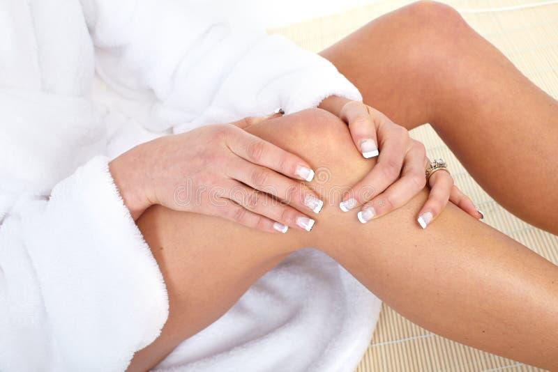 Knee pain. Knee joint pain. Massage. Health care