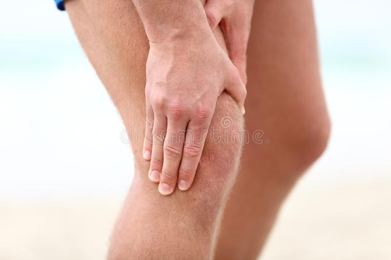 Knee Pain. Sports running knee injury in male runner