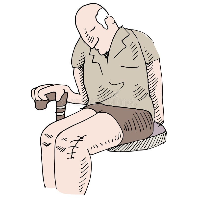 Knee Surgery. An image of a man with knee surgery royalty free illustration