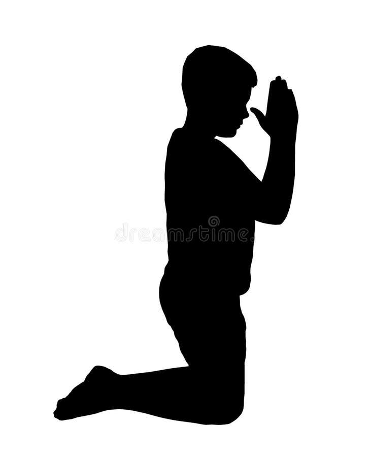 Kneeling Boy Praying royalty free stock photography