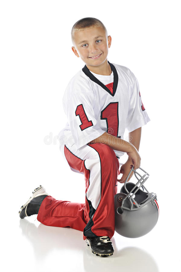 Download Kneeling Football Boy stock image. Image of player, happy - 36353697