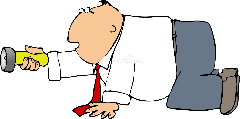 Download Kneeling Man With A Flashlight Stock Illustration - Image: 496622