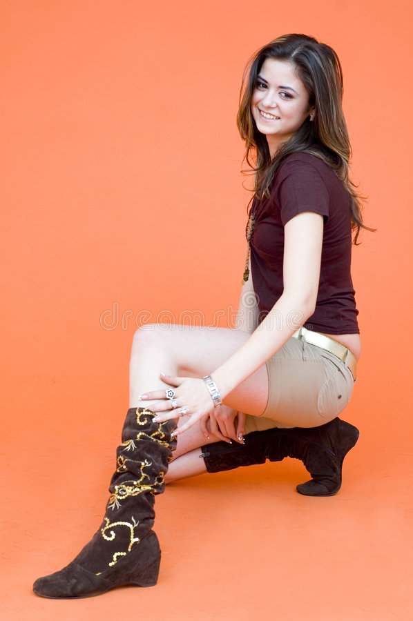 Download Kneeling Young Girl stock image. Image of fashionable - 1956461