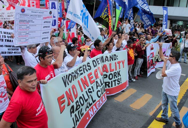 Kneget och korruption protesterar i Manila, Filippinerna arkivfoton