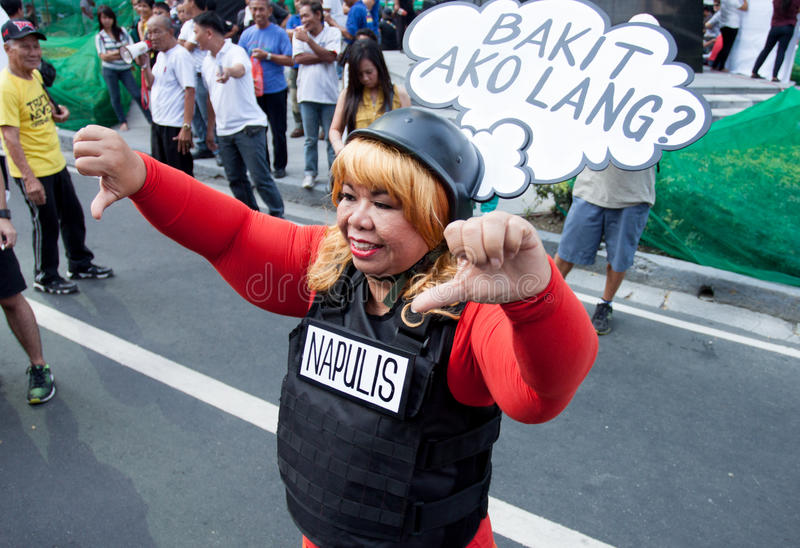 Kneget och korruption protesterar i Manila, Filippinerna royaltyfria foton