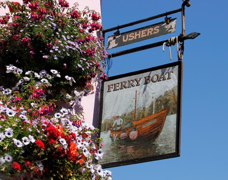 Kneipenzeichen des Fähren-Gasthauses, Dittisham, Devon stockfotografie