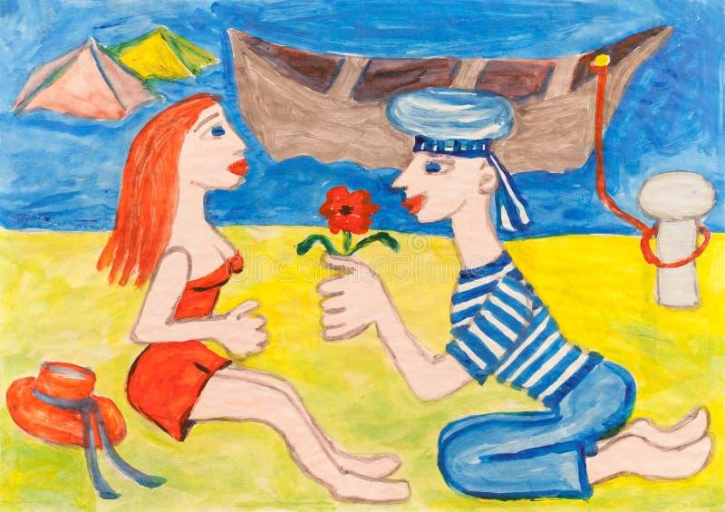 Knellingsman vrijage een mooie vrouw stock illustratie
