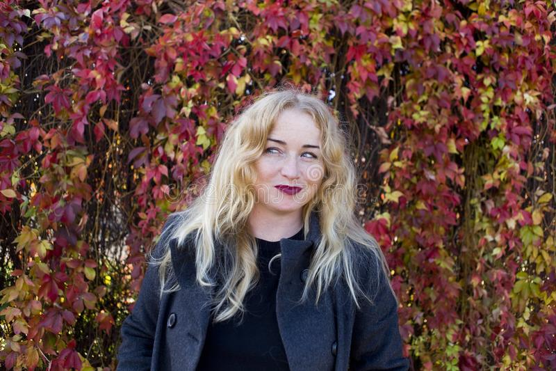 Knepig blond kvinna med färgrika sidor på bakgrund royaltyfri foto