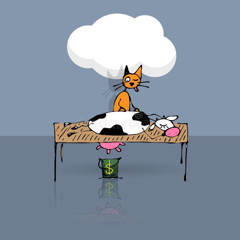 Knepig katt som mjölkar kon stock illustrationer
