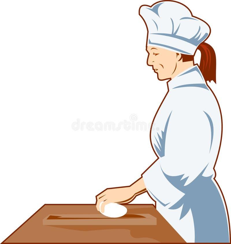 Knetender Teig des Chef-Kochs lizenzfreie abbildung