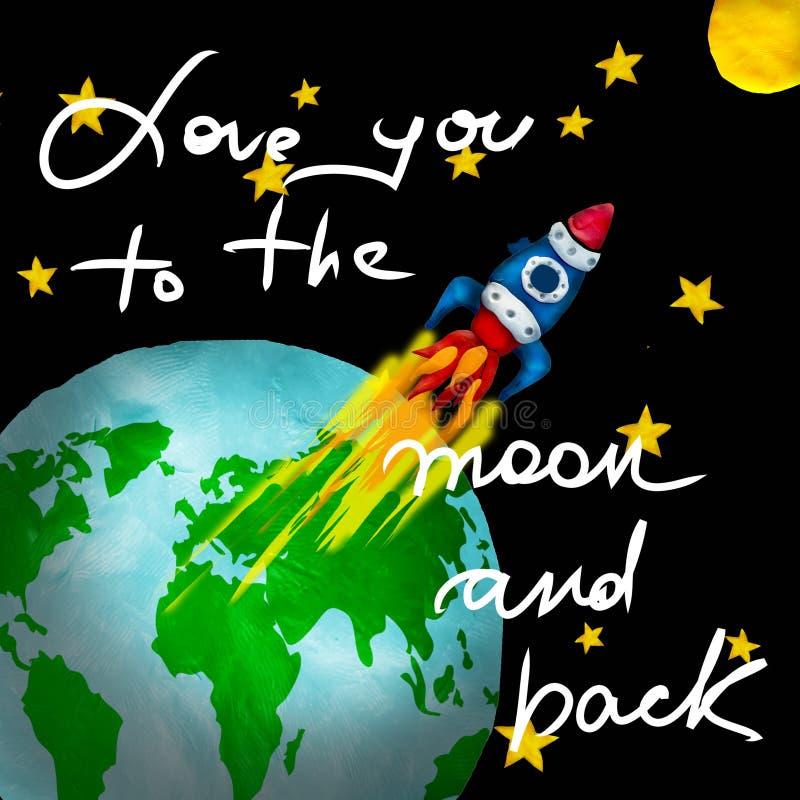 Knetmassegrußkarte mit Retro- Raumschiffflug von der Erde moon und zu zitieren lizenzfreie abbildung