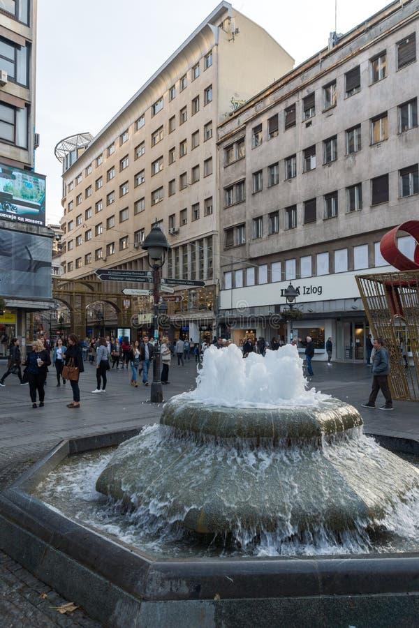 Knez Mihailova gataprins Michael Street i mitten av staden av Belgrade, Serbien arkivbild