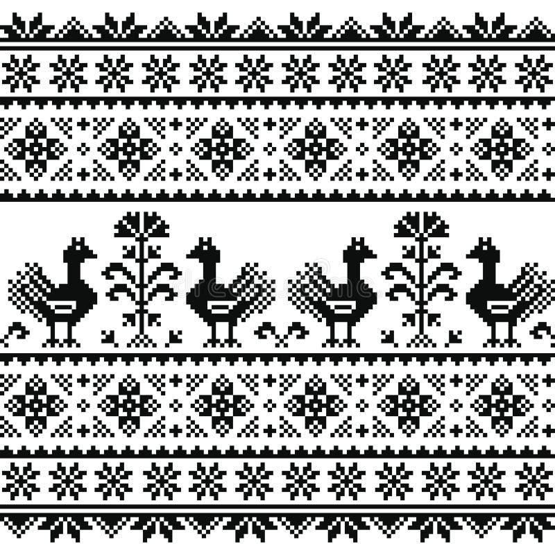 Kniaź lub Belarusian, Slawistyczna ludowa sztuka dzialiśmy czarnego broderia wzór z ptakami ilustracja wektor