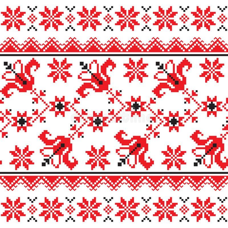 Kniaź, Slawistyczny Tradycyjny ludowy trykotowy czerwony broderia wzór ilustracji