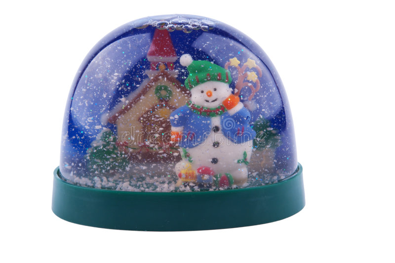 Knick knack on white. Snowman in a ball with snow royalty free stock photo