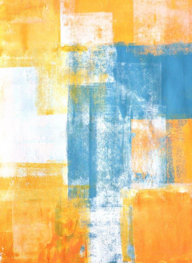Knickente und orange abstrakter Art Painting lizenzfreie abbildung